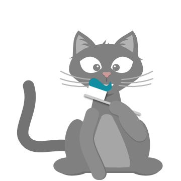 A cat brushing their own teeth. Ha!